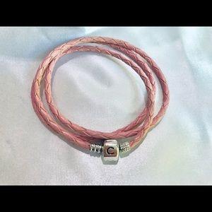 Pink Chamilia Double Wrap Leather Snap Bracelet.